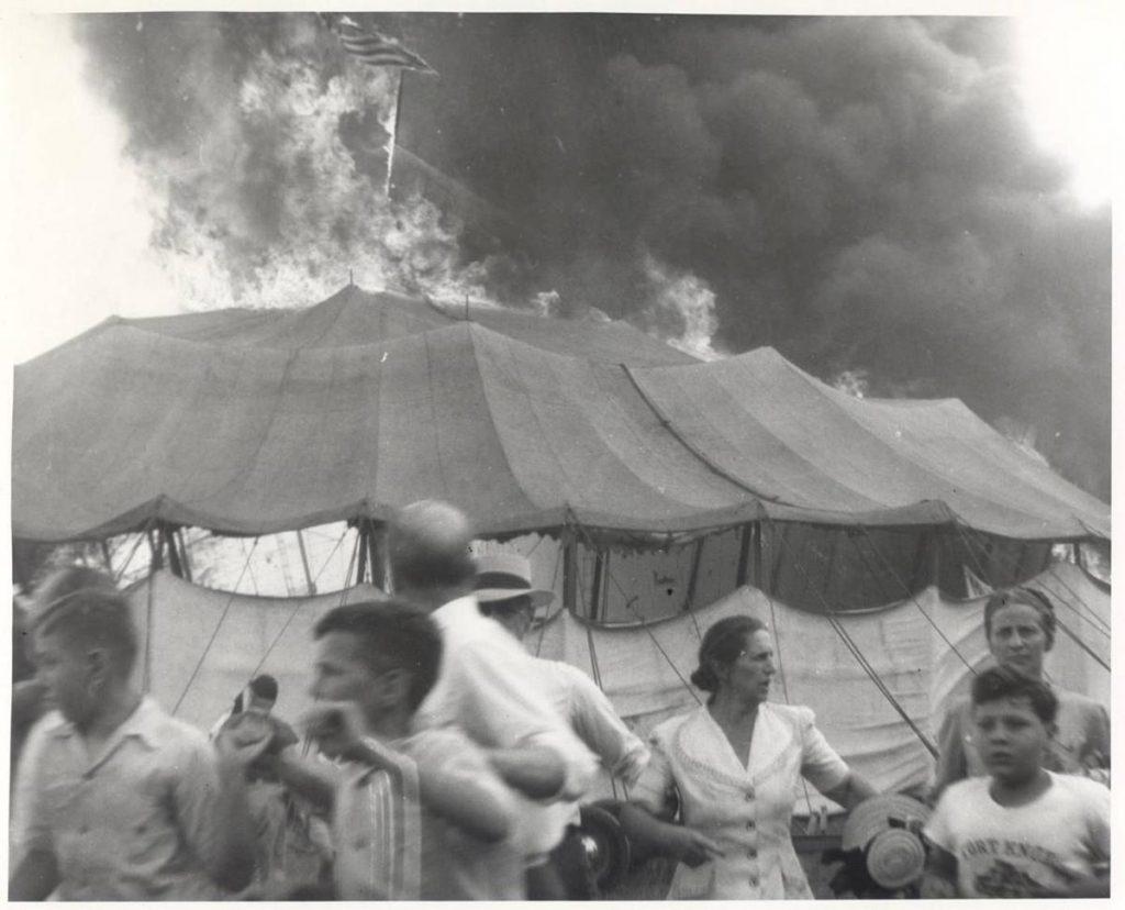 A flaming tent