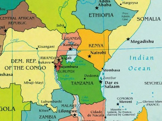 map of countries composing the region of East Central Africa, including Uganda, Republic of Congo, Kenya and Tanzania.