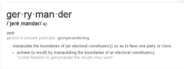 dictionary definition of the process of creating voting districts for political advantage - Gerrymandering.