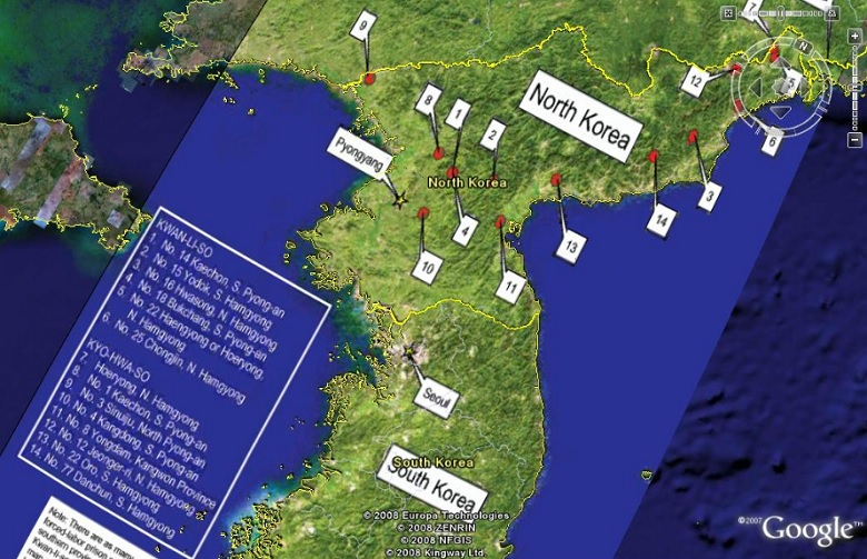 a Google Earth map labeled to identify the network of concentration camps in North Korea operated at the direction of North Korean's brutal dictator Kim Jong un.