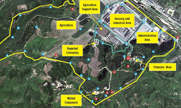 a satellite view of one of North Korea's detention camps, including a crematorium for disposing of the bodies of prisoners killed, denied medical treatment or starved by camp administrators.