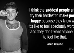 Robin Williams meme with photo of Williams and text from his quote about sadness and why depressed people often make a greater effort to please others