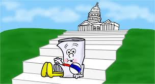 illustration of a newly sponsored bill sitting on the steps to the Capitol. - Bill becomes a law