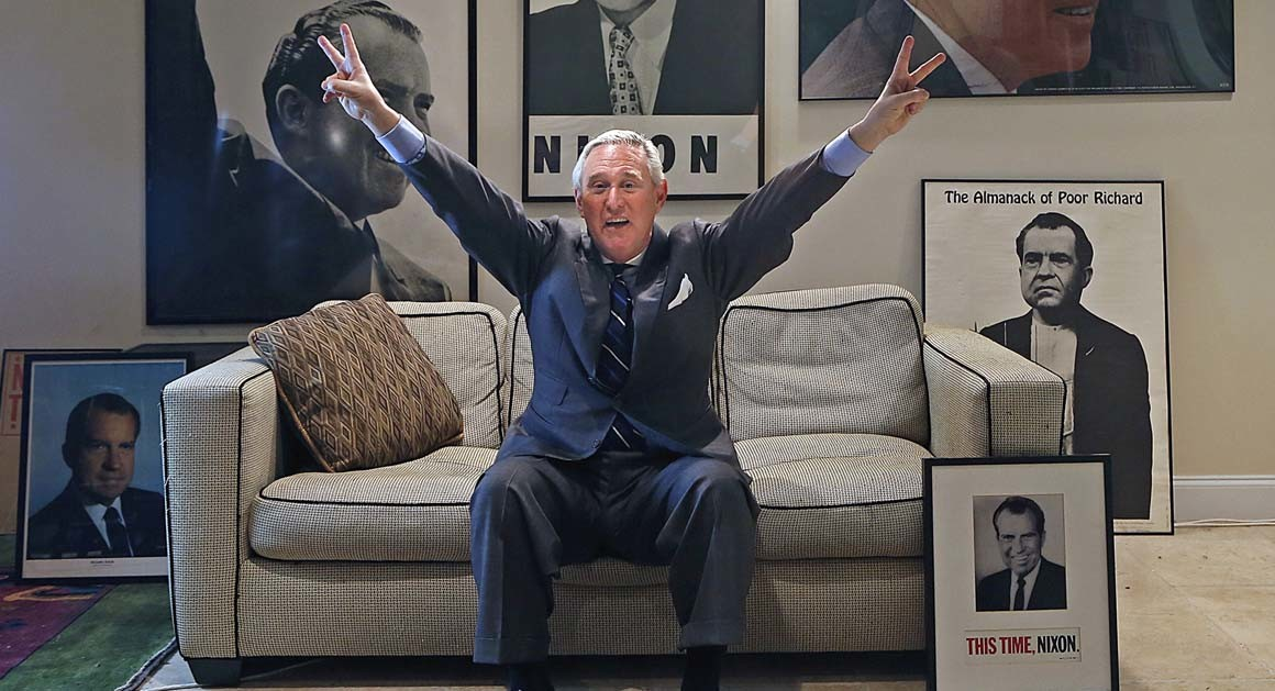 Trump operative Roger Stone striking Nixon pose
