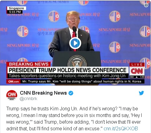 """Trump told reporters, """"I may be wrong,"""" Trumptold reporters after the meeting. """"I may stand before you in six months and say, 'Hey, I was wrong.' I don't know that I'll ever admit that, but I'll find some kind of an excuse."""""""