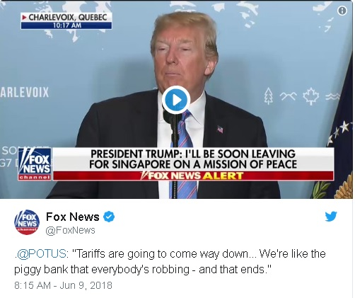 "retweet by Fox News, showing Trump's erroneous claim that America's trade partners are using the United States as their ""Piggy Bank""."