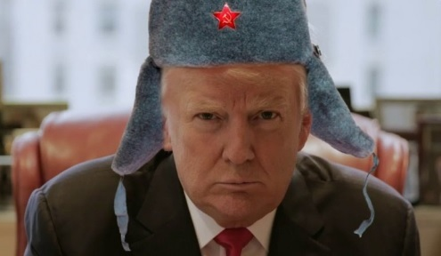 comic image of Trump donning a Russian winter cap