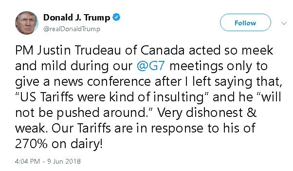 Trump tweet attacking Canadian Prime Minister Justin Trudeau