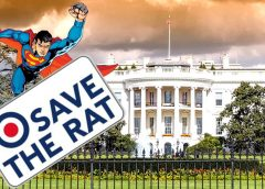 """Save the Rat White House meme featuring Superman with a banner reading """"Save The Rat"""""""