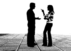 monochrome silhouette image of two people in a heated argument