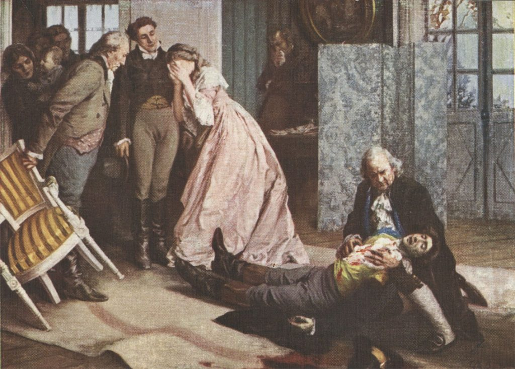 "The death scene from the novel ""The Sorrows of Young Werther."""