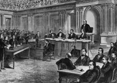 illustration of the Andrew Johnson impeachment proceedings in Congress