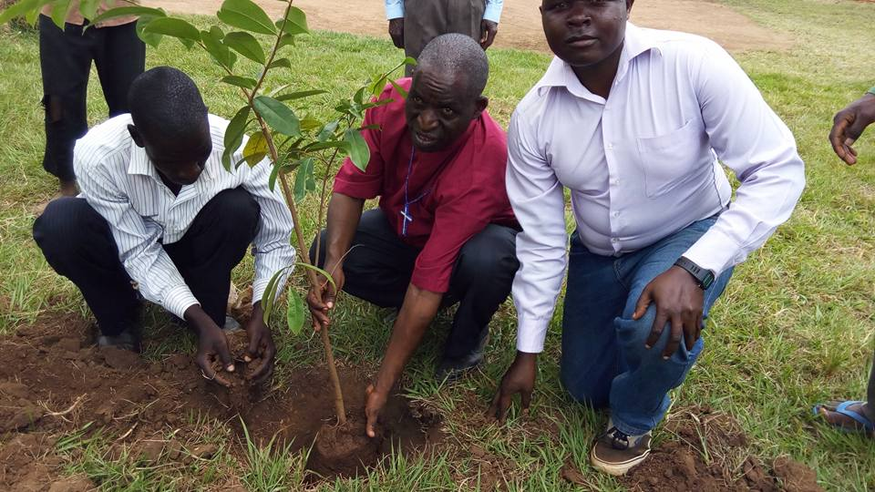 new trees being planted at Neema Mission Centre to signify new beginnings and mitigate deforestation.