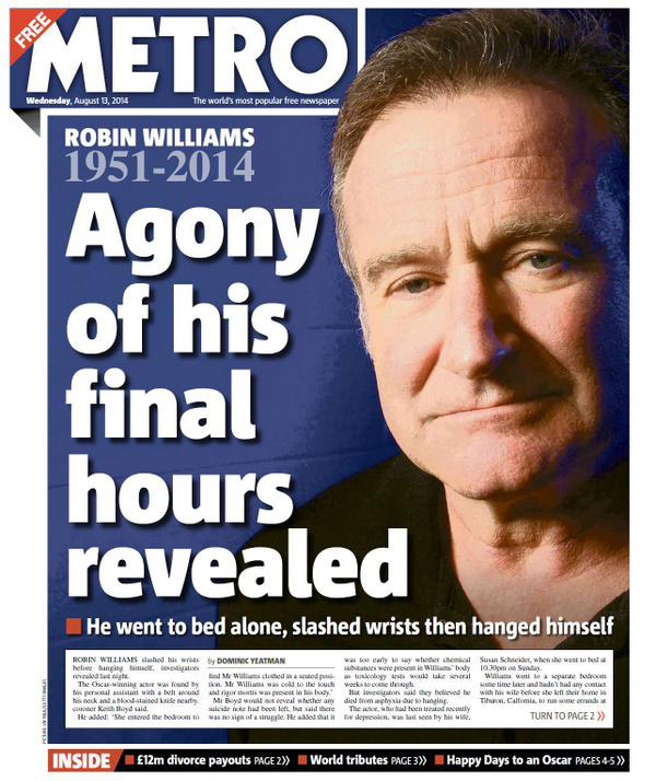 Headline sensationalizing Robin Williams death by suicide.