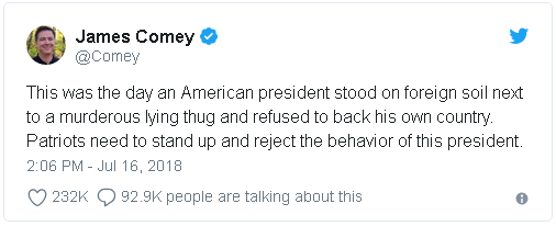 former FBI Director James Comey's tweet in reaction to Trump's comments at the joint US - Russian press conference in Helsinki, Finland