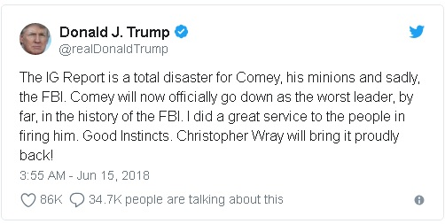 One of Donald Trump's many dozens of Tweets railing against Robert Mueller's Russia investigation and all administration officials associated with it, both present and former.