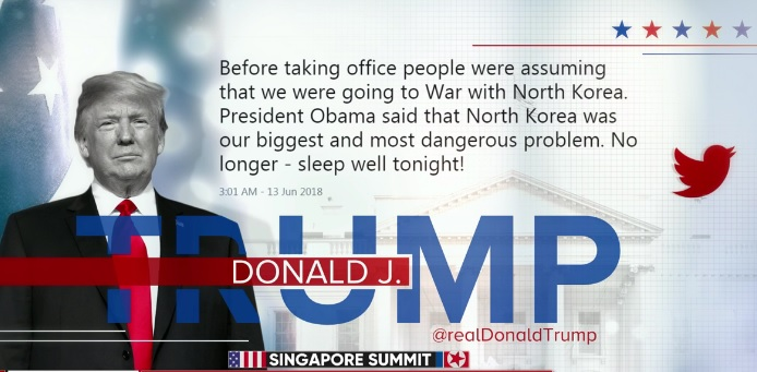 "Trump meme with Trump's ""Sleep Well Tonight"" quote, where he claims that he has brought an end to North Korea's nuclear missile program by virtue of his negotiations at the Singapore Summit"