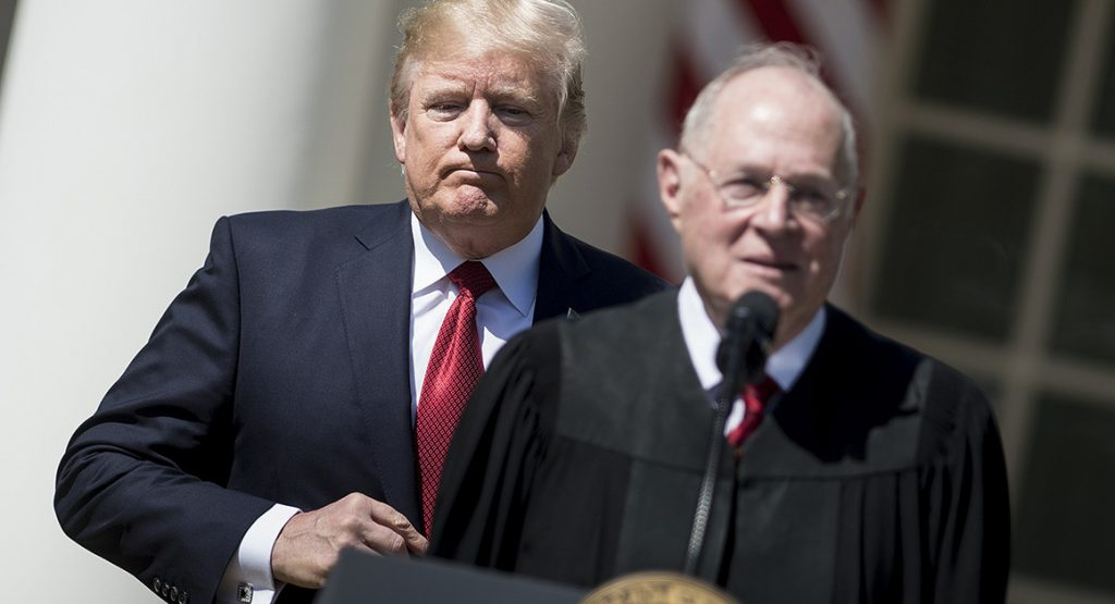 Donald Trump and outgoing Supreme Court Justice Anthony Kennedy at public event