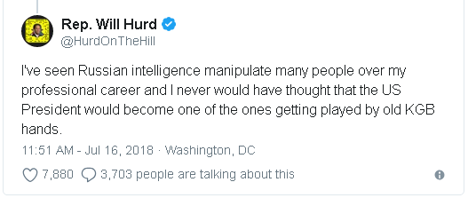 Oklahoma GOP Congressman, Will Hurd's tweet in reaction to Trump's comments at the joint US - Russian press conference in Helsinki, Finland