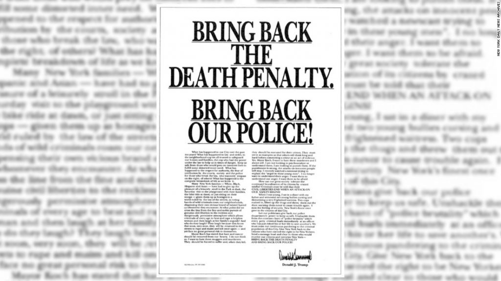 The ad Donald Trump took out in New York City newspapers in 1989 condemning the Central Park Five.