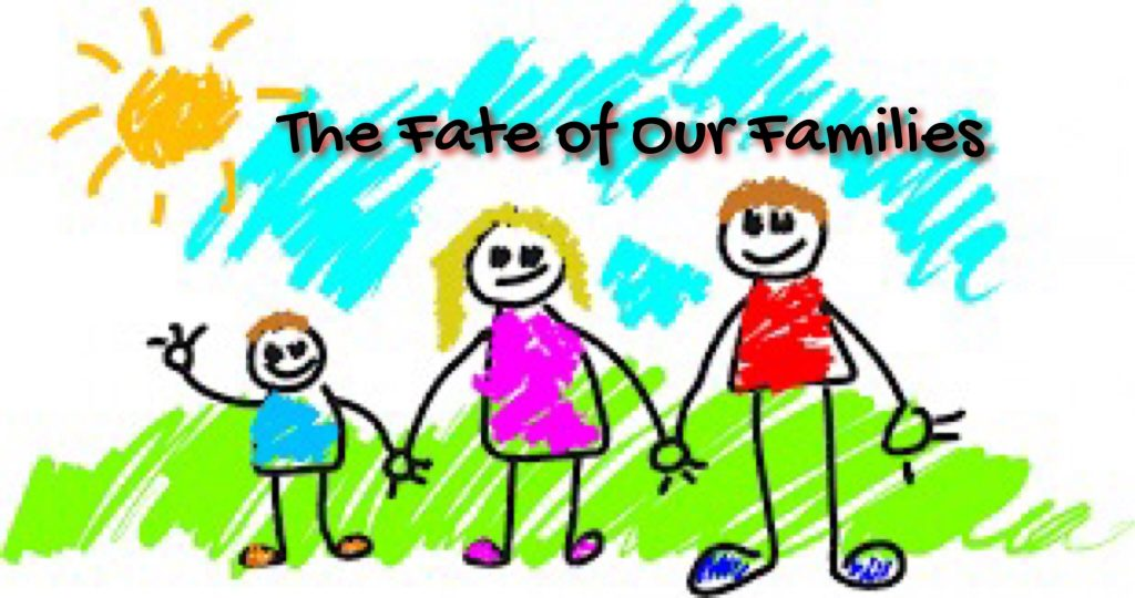 crayon style drawing of family with Mom, Dad and Child.