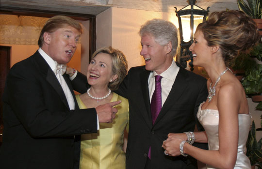 The Clintons at Mr. Trump's third wedding.