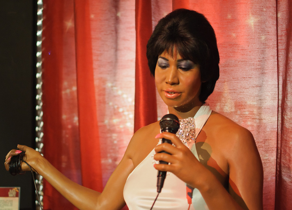 photo of the wax figure of R&B legend Aretha Franklin on display at the famous Madame Tussauds' museum in London, England.