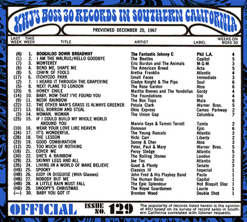 "playlist for Los Angeles Top 40 radio station KHJ 93 ""Boss Radio"" in December of 1967"