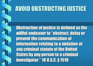 Obstructing justice def