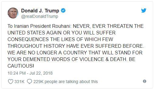 Trump tweet threatening war with Iran.