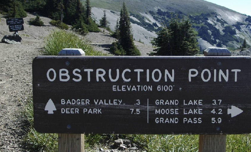 photo of sign announcing the entry of Obstruction Point in Washington State
