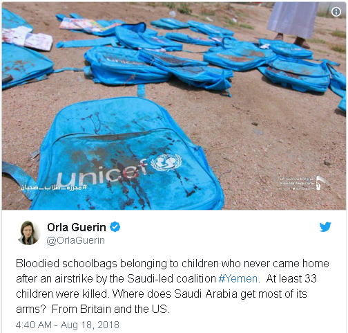 photo of blood spattered school backpacks of children targeted by Saudi aerial bombing.