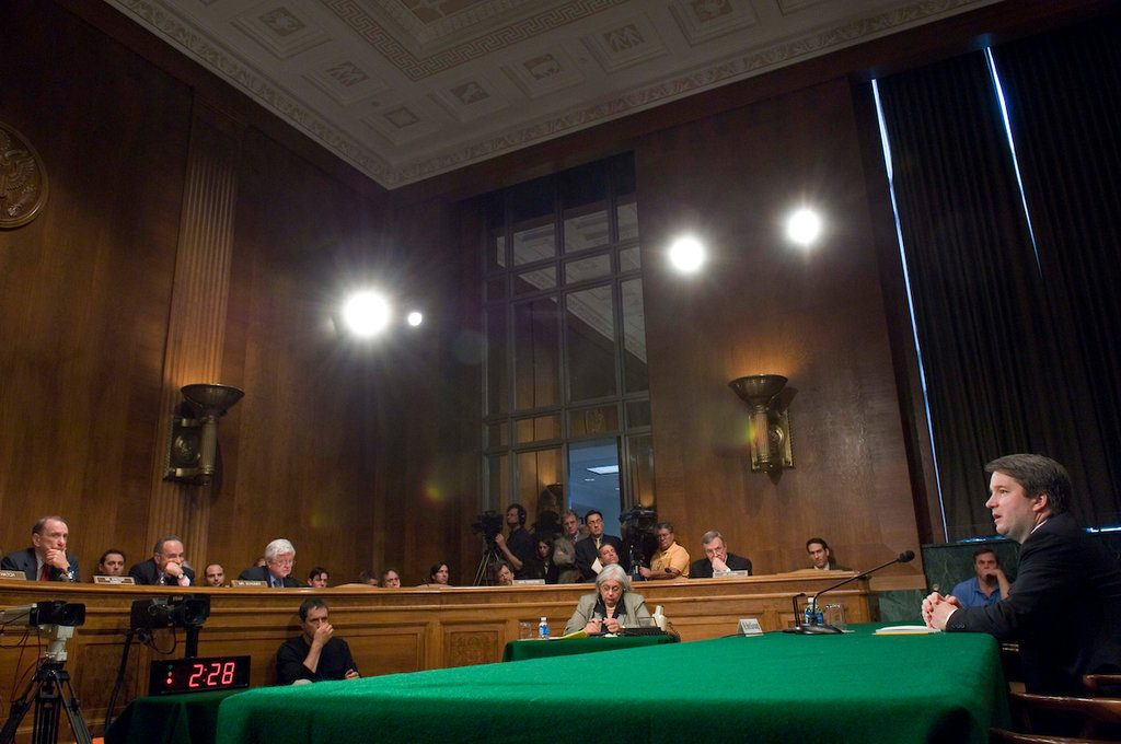 Brett Kavanaugh in the first session of Senate hearings on his nomination to the Supreme Court.