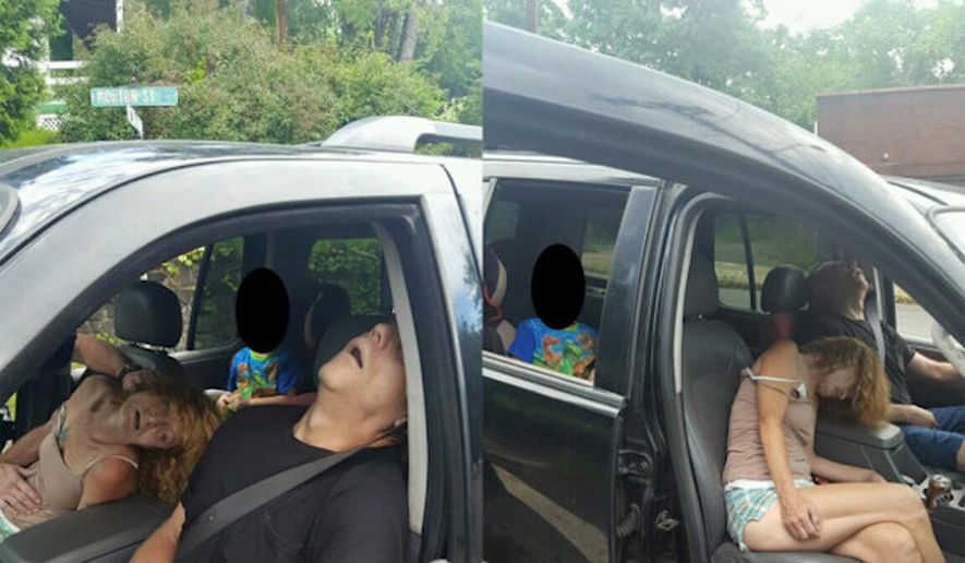 Heroin users overdosing with a child in their car.