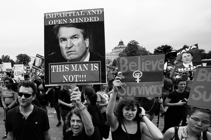 Photo of one of numerous protests opposing Brett Kavanaugh's confirmation to the Supreme Court.