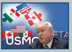 graphic of US, Mexico and Canadian flags with image of Donald Trump and NAFTA motif