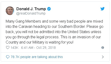 "President Donald Trump's tweet about ""very bad people"" heading to the U.S. border"