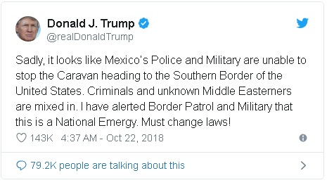 a tweet from President Donald Trump in which he asserts that the migrant caravan is composed of large numbers of criminals as well as individuals from the Middle East.