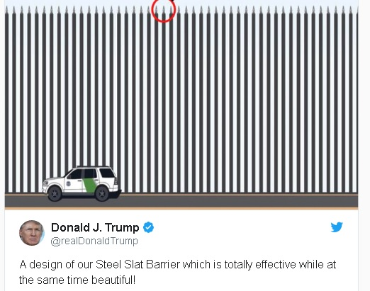 "President Trump tweet touting, not a wall, but ""Steel Slat Barriers"""