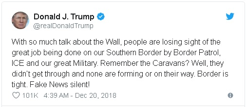 tweet by President Donald Trump signaling a softening in his insistence for a solid concrete wall on the U.S. / Mexico Border