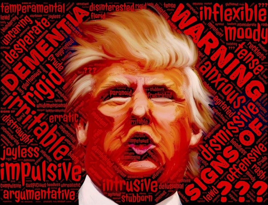 An image with a word pastiche and caricature of Trump with a word pastiche of terms and synonyms representing mental illness.