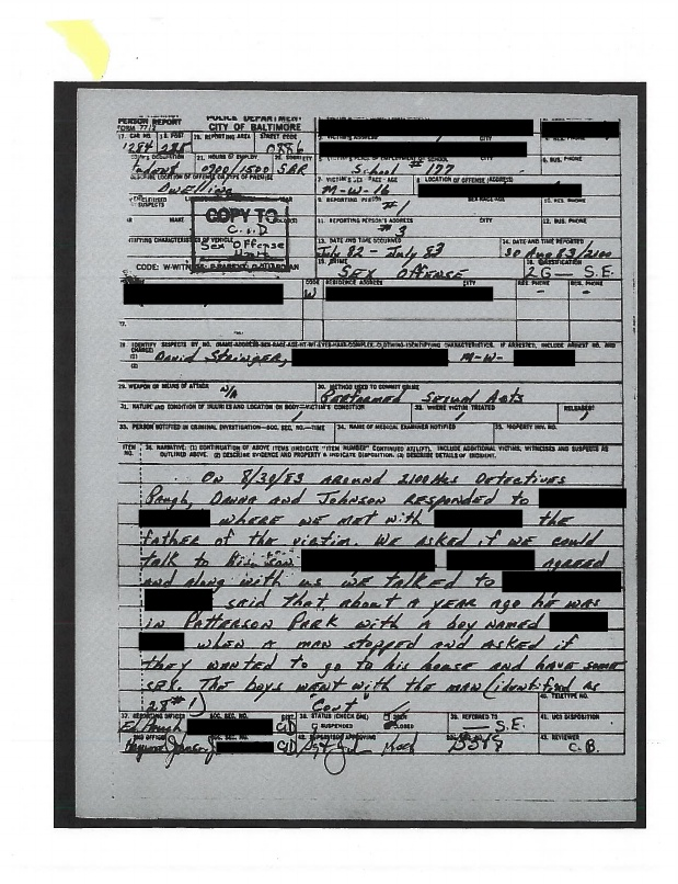 Copy of Stringer's arrest report from 1983