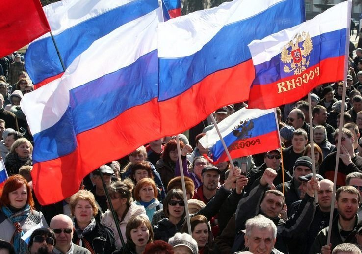 Russians waving flags