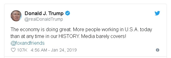"Donald Trump tweet proclaiming ""More people working in USA today than at any time in our history""."