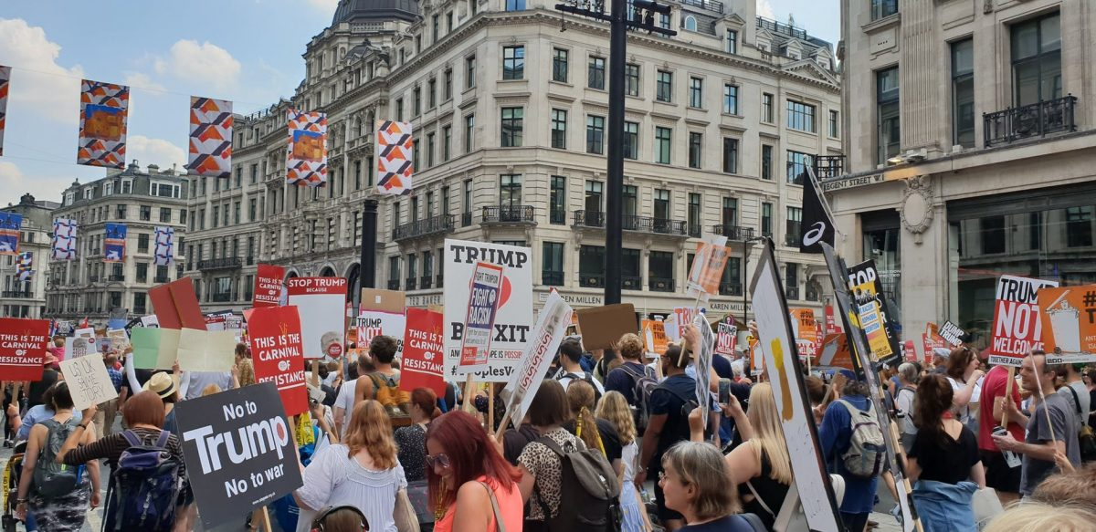photo of thousands in London protesting the visit to Great Britain of U.S. President Donald Trump