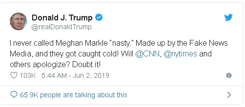"Trump tweet falsely denying that he referred to Princess Meghan as ""nasty""."