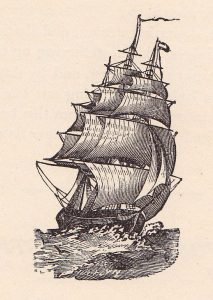 antique print of masted ship