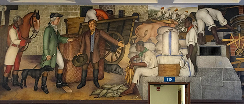 "One of the panels of Victor Arnautoff's1,600 square foot mural entitled ""Life Of Washington""."