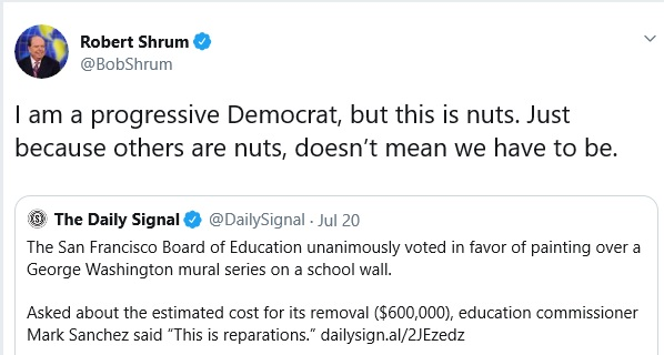 A Tweet from Bob Shrum, who today directs the Center for the Political Future and Unruh Institute of Politics at USC.