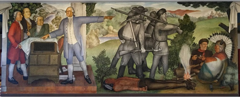 "another segment of Arnautoff's ""Life of Washington"" mural painted during the New Deal era at George Washington High School in Richmond, California."